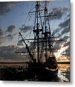 Old Sailboat At Sunset Metal Print