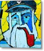 Old Sailor With Pipe Expressionist Portrait Metal Print