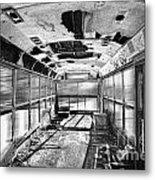 Old School Bus In Motion Bw Hdr Metal Print