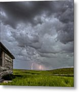 Old School House And Lightning Metal Print by Mark Duffy