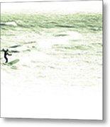 Old School Longboard Lone Surfer Metal Print