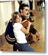 Old School Roller Derby Skater And His Number One Fan Metal Print