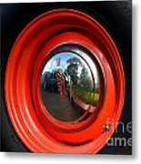 Old School Wheel And New Reflection Metal Print