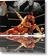 Old School Wrestling Headlock By Dean Ho On Don Muraco With Reflection Metal Print