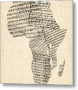 Old Sheet Music Map Of Africa Map Metal Print