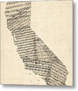 Old Sheet Music Map Of California Metal Print