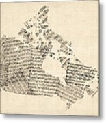 Old Sheet Music Map Of Canada Map Metal Print