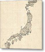 Old Sheet Music Map Of Japan Metal Print