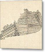 Old Sheet Music Map Of Kentucky Metal Print