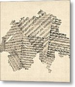 Old Sheet Music Map Of Switzerland Map Metal Print by Michael Tompsett