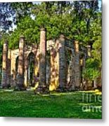 Old Sheldon Church Ruins In South Carolina Metal Print by Reid Callaway