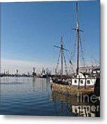 Old Ship In Calm Water Harbor Metal Print
