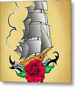 Old Ship Tattoo  Metal Print