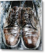 Old Shoes Frozen In Ice Metal Print