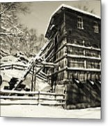 Old Snow Covered Quarry Mill Metal Print