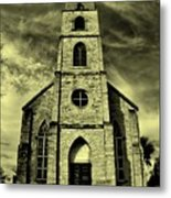 Old St. Mary's Church In Fredericksburg Texas In Sepia Metal Print