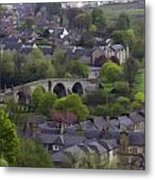 Old Stirling Bridge And Houses As Visible From Stirling Castle Metal Print