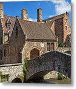 Old Stone Bridge In Bruges  Metal Print