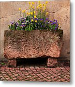 Old Stone Trough And Flowers In Alsace France Metal Print by Greg Matchick