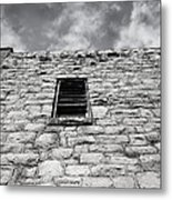 Old Stone Wall Black And White Photograph Metal Print