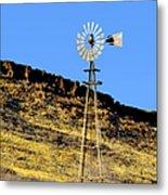 Old Texas Farm Windmill Metal Print
