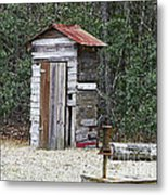 Old Time Outhouse And Pitcher Pump Metal Print