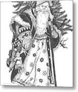 Old Time Santa With Violin Metal Print
