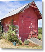 Old Tool Shed Red Barn Metal Print