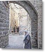 Old Town Street Of Jerusalem Israel Metal Print