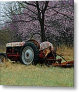 Old Tractor And Redbuds Metal Print