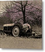 Old Tractor And Redbuds Sepia Metal Print