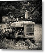 Old Tractor Black And White Square Metal Print