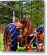 Old Tractor Digital Paint Metal Print