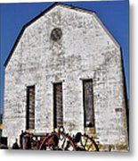 Old Tractor In Front Of Hay Barn Metal Print