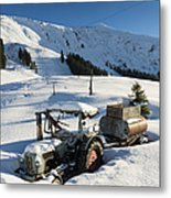 Old Tractor In Winter With Lots Of Snow Waiting For Spring Metal Print