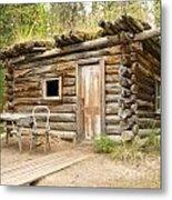 Old Traditional Log Cabin Rotting In Yukon Taiga Metal Print