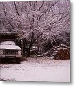 Old Truck In The Snow Metal Print