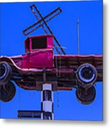 Old Truck With Cross Metal Print