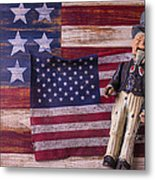 Old Uncle Sam And Flag Metal Print by Garry Gay