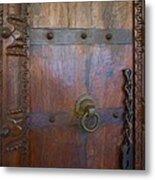 Old Vintage Door With Chain Metal Print