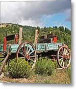 Old Wagon Along The Road Metal Print