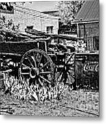 Old Wagon And Cooler Metal Print