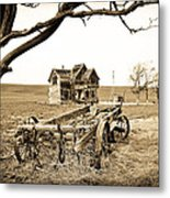 Old Wagon And Homestead Metal Print