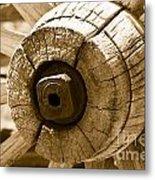 Old Wagon Wheel - Sepia Rendering Metal Print