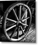 Old Wagon Wheel Black And White Metal Print