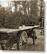 Old Wagon With Antique Water Wheel Metal Print