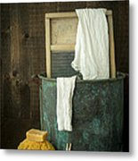Old Washboard Laundry Days Metal Print by Edward Fielding