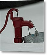 Old Water Pump In Snow Metal Print