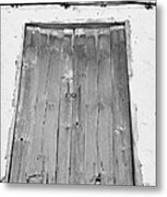 old weathered brown wooden door double window opening on abandoned house with cracked stucco yellow walls in Tacoronte Tenerife Canary Islands Spain Metal Print