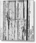 old weathered green painted wooden door entrance to abandoned house with cracked stucco walls in Tacoronte Tenerife Canary Islands Spain Metal Print